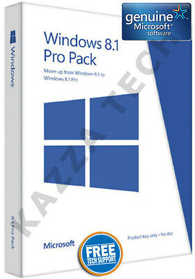 Microsoft Windows 8.1 PRO Pack 32 / 64-bit English GENUINE (Free Win 10 Upgrade)