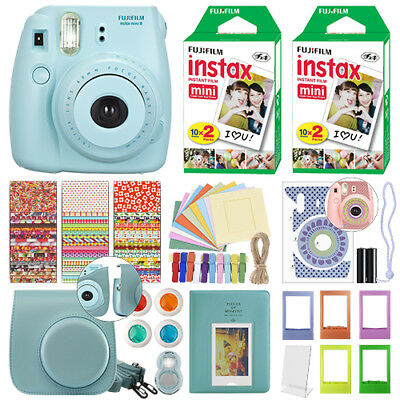 Fuji Instax Mini 8 Fujifilm Instant Film Camera Blue + 40 Film Deluxe Bundle