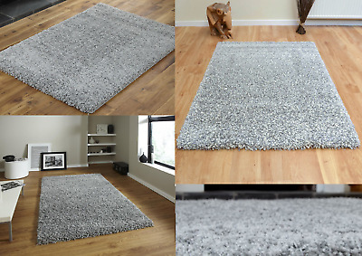 Shaggy Rug Area Dining Room Carpet Floor Mat Home Bedroom 5cm Thick Plain Silver