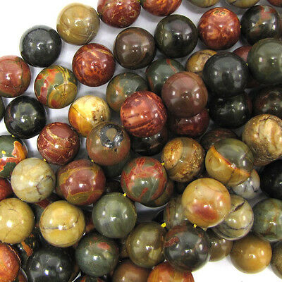 """Multicolor Picasso Jasper Round Beads 15.5"""" Strand 4mm 6mm 8mm 10mm 12mm 14mm"""