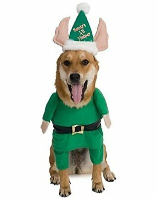 Santas Little Helper Elf Pet Dog Costume Christmas Outfit Cosplay Suit Dress US