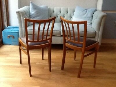 Vintage mid-century chairs x 2 with brown vinyl seats