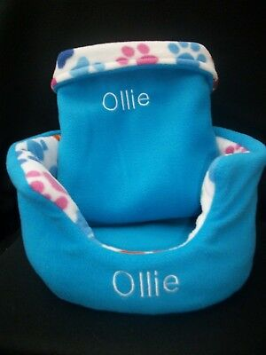 ** 2 PIECE SET *PERSONALISED guinea pig bed snuggle pouch cuddle cup sack large