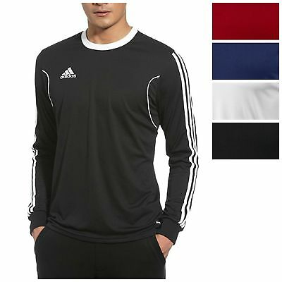 adidas Men's Squadra 13 Long Sleeve Shirt Athletic Slim Fit 3 Stripe Soccer Tee