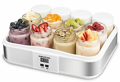 Gourmia Digital Yogurt Maker + 12 Glass Jars Customize Your Flavor And Thickness