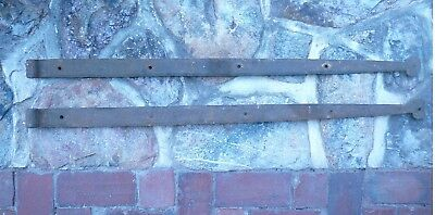 """Nice! Rusty Antique 1800's Hand Forged Iron Hinges 41"""". Old Pa. Barn Door Gate"""