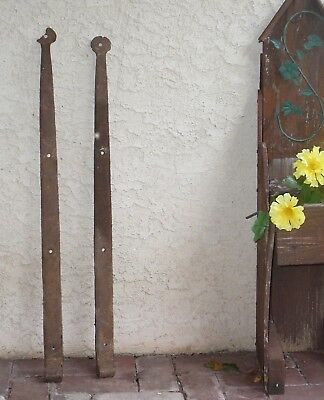 """Nice! 2 Antique 1800s Hinges 34"""" Hand Forged Rusty Iron Steel. Old Pa. Barn Door"""
