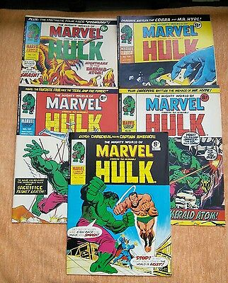 5 Issues of The Mighty World Of Marvel Vintage UK Comic Hulk, Daredevil 1970's