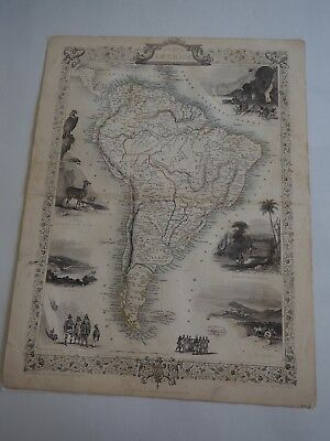 Map of South America, 1851 John Tallis-Decorative and Detailed