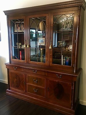 Large Vintage Mahogany Triple Door Bookcase Display Cabinet