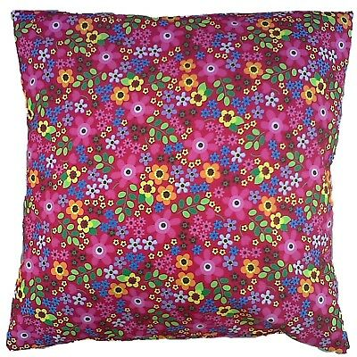 "Pink Retro Floral  Cotton Cushion Cover Size 16"" x 16"""