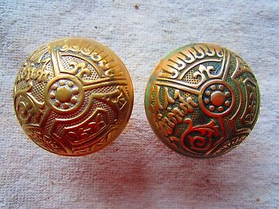 Antique Vintage Set Of Ornate Brass Door Knobs