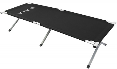 VIVO Cot, Black Fold up Bed, Folding, Portable for Camping, Military Style w/Bag