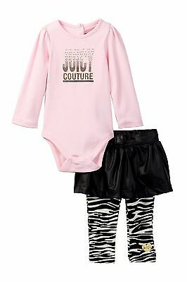 Juicy Couture Bodysuit Pleather Skirted Leggings Set Girls Size 6-9 months