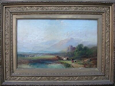 Antique Victorian Oil Painting'scottish Highland Crofters&loch,castle,cattle,