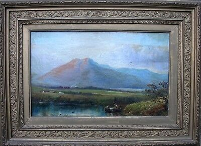 ANTIQUE VICTORIAN OIL PAINTING'SCOTTISH HIGHLAND CROFTERS,CATTLE, BOAT c1830