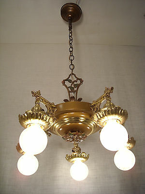1928 Ornate Lincoln Brass Pan Fixture RESTORED READY TO HANG Ceiling Light