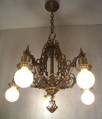 1920s Mid-West Bronze Art Deco Nouveau Chandelier RESTORED Antique Light Fixture