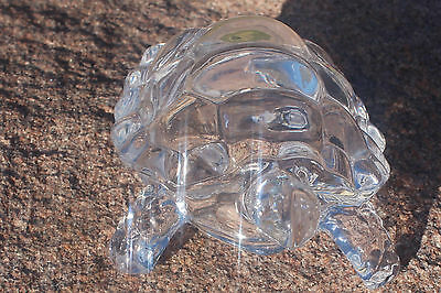 glass turtle figurine blown sea art hand animal paperweight blue 3 5 crystal usa