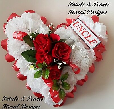 Heart Shaped Artificial Silk Flowers Funeral Wreath Tribute Memorial Uncle