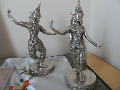 Statuettes of Two Thai Dancers.  18 cm high.