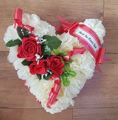 Heart Shaped Artificial Silk Flowers Funeral Wreath Tribute Memorial Dad
