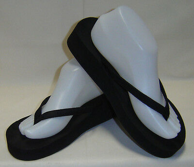 Black Wedge Flip Flop Thong Sandals - Women's Size 9 M
