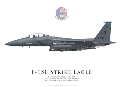 Print F-15E Strike Eagle, 492nd FS, 48th FW, Lakenheath (by G. Marie)