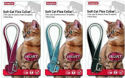 Beaphar Cat Flea Collar Velvet Black, Red Or Blue
