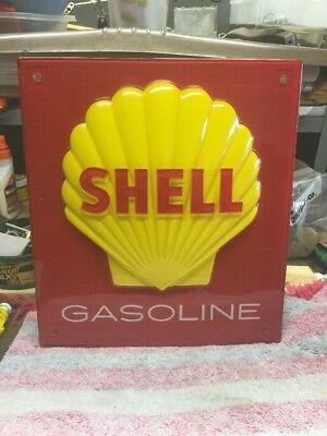 """Vintage SHELL plastic sign Size: 11""""W X 12 1/4"""" T Molded Raised Embossed"""