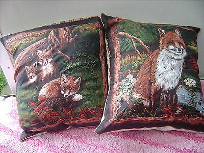 Fox  Mother And  Puppies    One Pair Of Cushion 40  Cm / 16 Inches