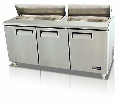 "Migali 3 Door 72"" Sandwich Prep Table C-Sp72-18, Free  Delivery!"