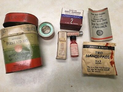 1932 Official Boy Scout First Aid Kit by Bauer & Black W/Contents