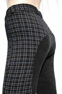 Girls Jodhpurs Kids Jodphurs Black Check Full Seat Suede Jodhpurs Size 6