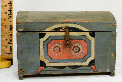 Antique 19Thc Scandinavian Immigrant Child's Doll Trunk Hand-Made