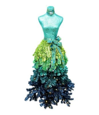 5 Ft Premium Artificial LED Lighted Christmas Tree Dress Skirt Mannequin Peacock
