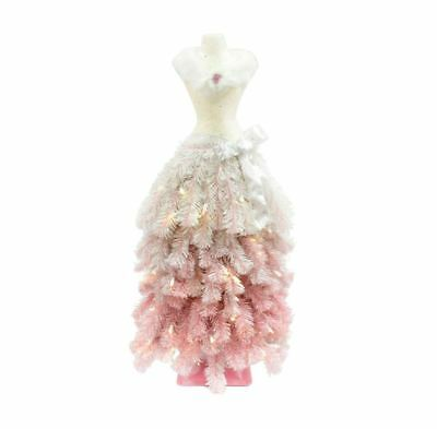 3 Ft Premium Artificial LED Lighted Christmas Tree Dress Skirt Mannequin Pink