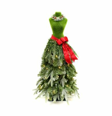 Premium 3 Ft Dress Form Artificial LED Lighted Christmas Tree Mannequin - Green