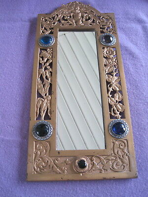 Antique Mirror With Cherub & Flowers And Jeweled /jewels Glass