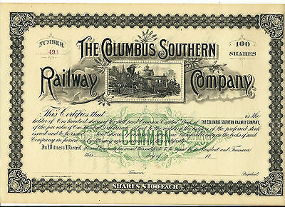 1890's Columbus Southern Railway Company Unissued Stock Certificate