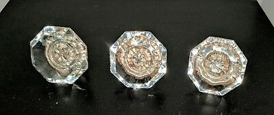 Beautiful Old Antique 8 Point Crystal Door Knob With Brass End - 3 Pieces