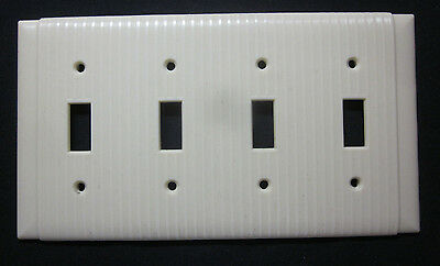 Vintage Bryant Ribbed Ivory Bakelite 4 Gang Switch Plate Wall Cover Art Deco