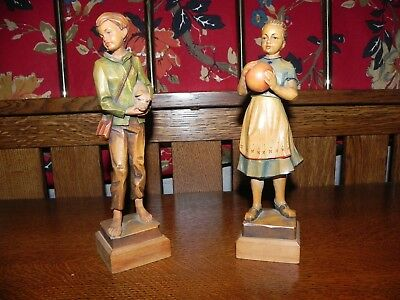 Czechosovakian Antique Wood carved Children figurines