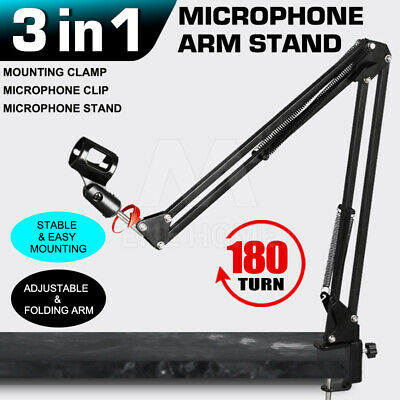 Pro Mic Microphone Suspension Boom Arm Desktop Stand Holder Mount for Broadcast