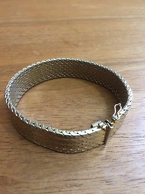 Vintage Italy Golden Box Clasp Bracelet with safety