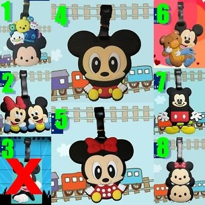 3 x Mickey Mouse / Minnie Mouse Silicone PVC Cartoon Travel Luggage Tag School
