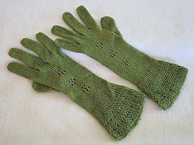 Vintage Olive Green Crocheted Gloves - Size Small