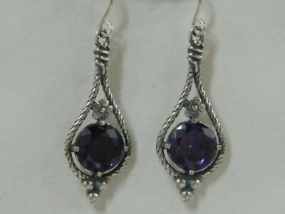 Details about  /Unique 925 Sterling Silver Earrings Amethyst CZ Purple Didae Shablool