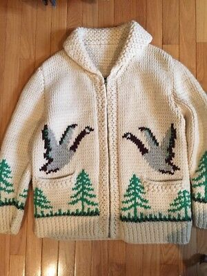 Vintage 50's Hand Knit MENS Heavy Cowichan Cardigan sweater geese Ducks