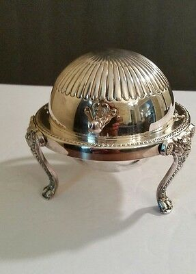 Rogers Silverplate Footed Lions Head Roll Top  Covered Butter